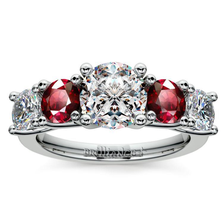 Trellis Ruby and Diamond Gemstone Engagement Ring in White Gold  | 01