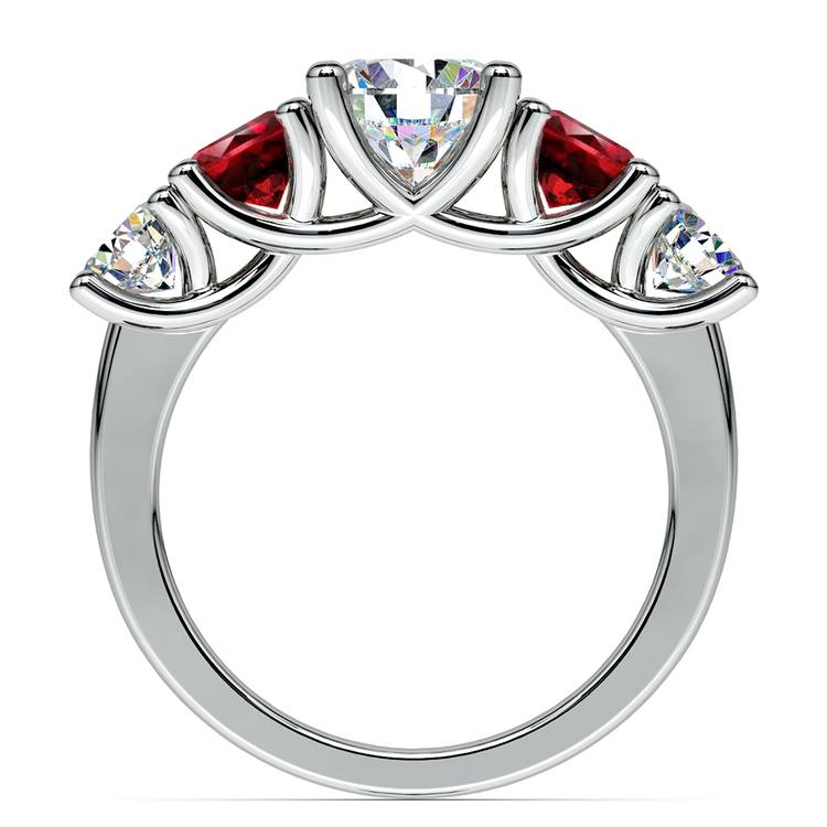 Trellis Ruby and Diamond Gemstone Engagement Ring in White Gold  | 02