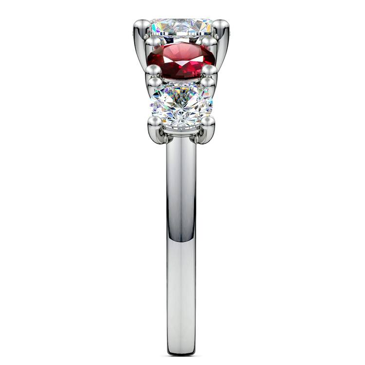 Trellis Ruby and Diamond Gemstone Engagement Ring in White Gold  | 03