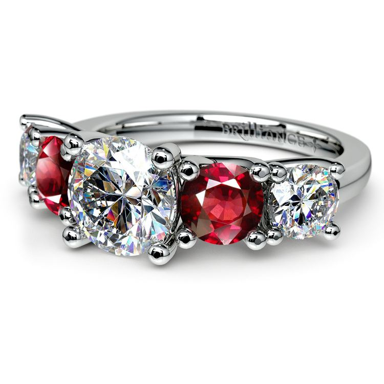 Trellis Ruby and Diamond Gemstone Engagement Ring in White Gold  | 04