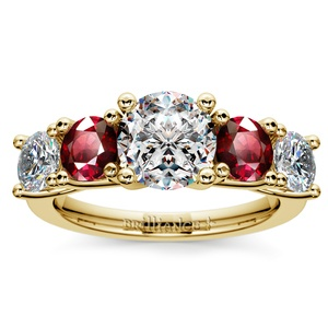 Trellis Ruby and Diamond Gemstone Engagement Ring in Yellow Gold