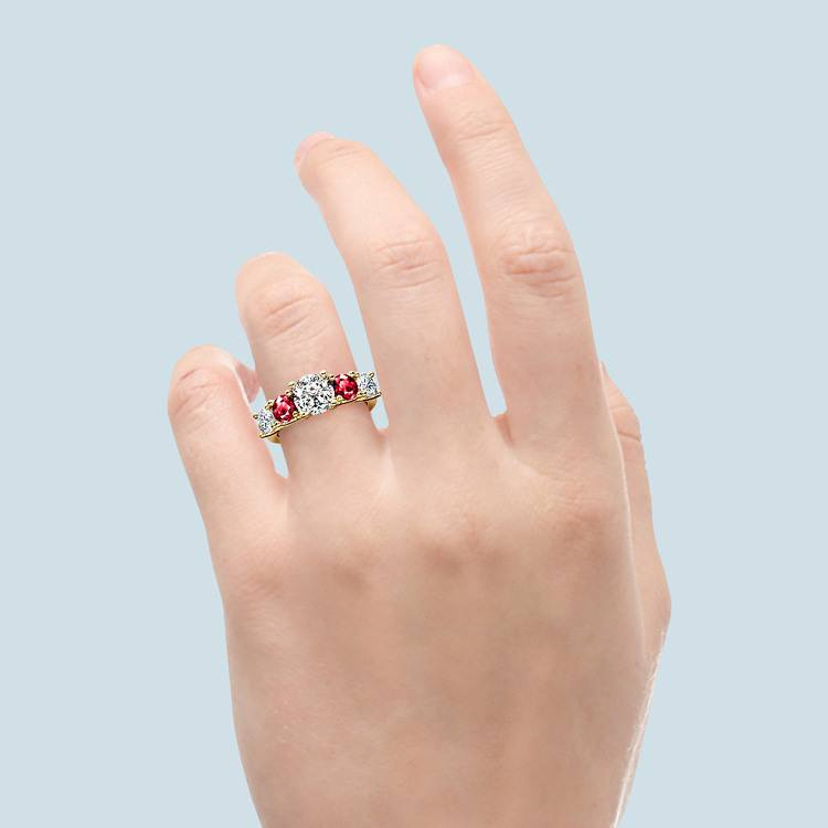 Trellis Ruby and Diamond Gemstone Engagement Ring in Yellow Gold  | 05
