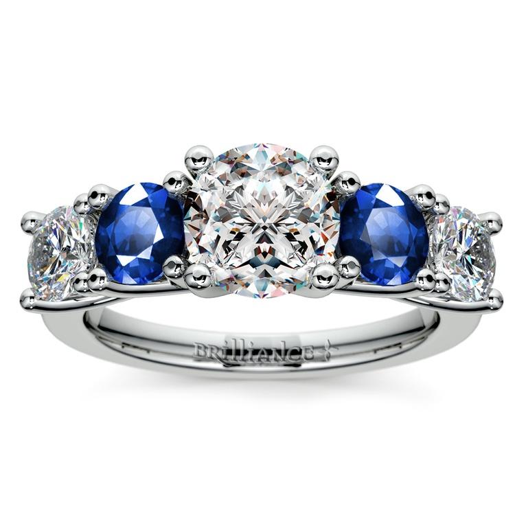 Trellis Sapphire and Diamond Gemstone Engagement Ring in Platinum  | 01