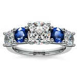 Trellis Sapphire and Diamond Gemstone Engagement Ring in White Gold  | Thumbnail 01