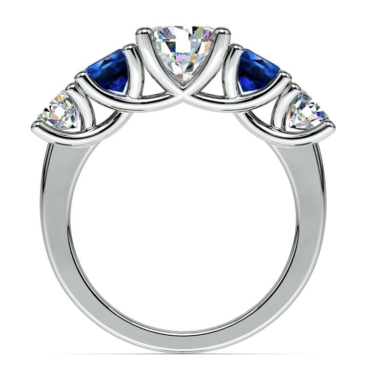 Trellis Sapphire and Diamond Gemstone Engagement Ring in White Gold  | 02