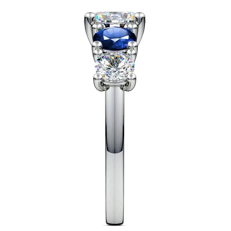 Trellis Sapphire and Diamond Gemstone Engagement Ring in White Gold  | 03