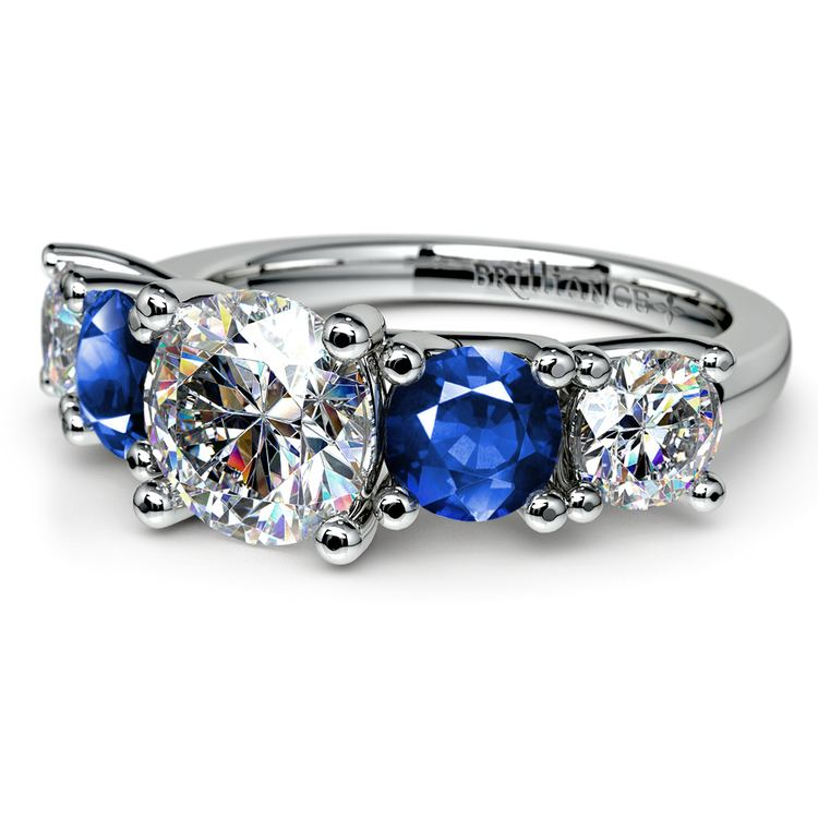 Trellis Sapphire and Diamond Gemstone Engagement Ring in White Gold  | 04
