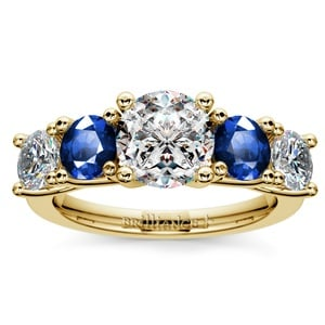 Trellis Sapphire and Diamond Gemstone Engagement Ring in Yellow Gold