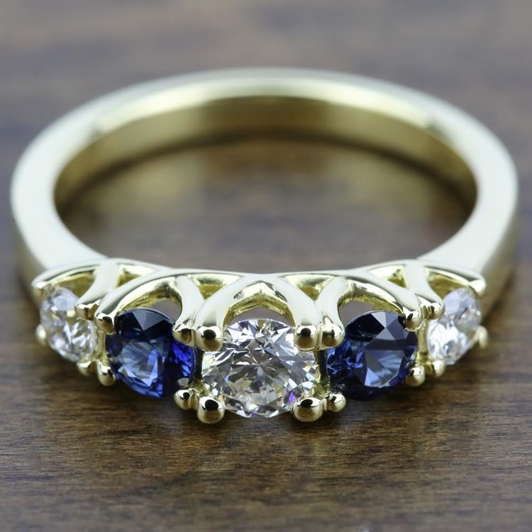 Trellis Sapphire and Diamond Gemstone Engagement Ring in Yellow Gold  | 05