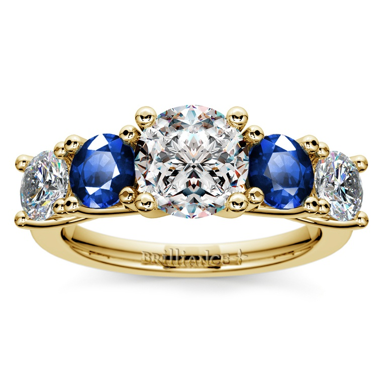 Trellis Sapphire and Diamond Gemstone Engagement Ring in Yellow Gold  | 01