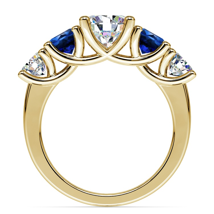 Trellis Sapphire and Diamond Gemstone Engagement Ring in Yellow Gold  | 02