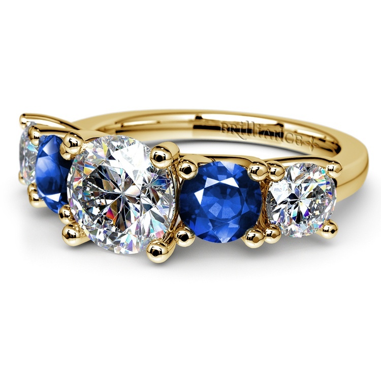 Trellis Sapphire and Diamond Gemstone Engagement Ring in Yellow Gold  | 04
