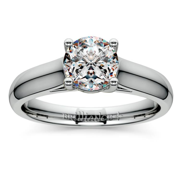 Trellis Solitaire Engagement Ring in White Gold   01