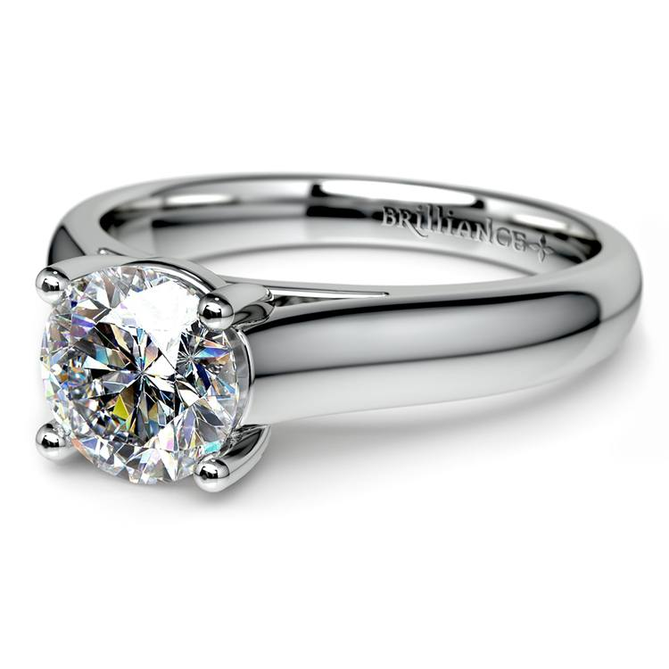 Trellis Solitaire Engagement Ring in White Gold   04