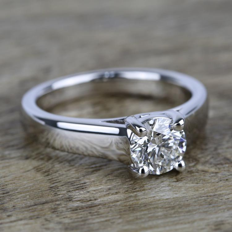 Trellis Solitaire Engagement Ring in White Gold   05