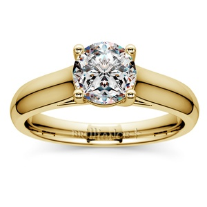 Trellis Solitaire Engagement Ring in Yellow Gold