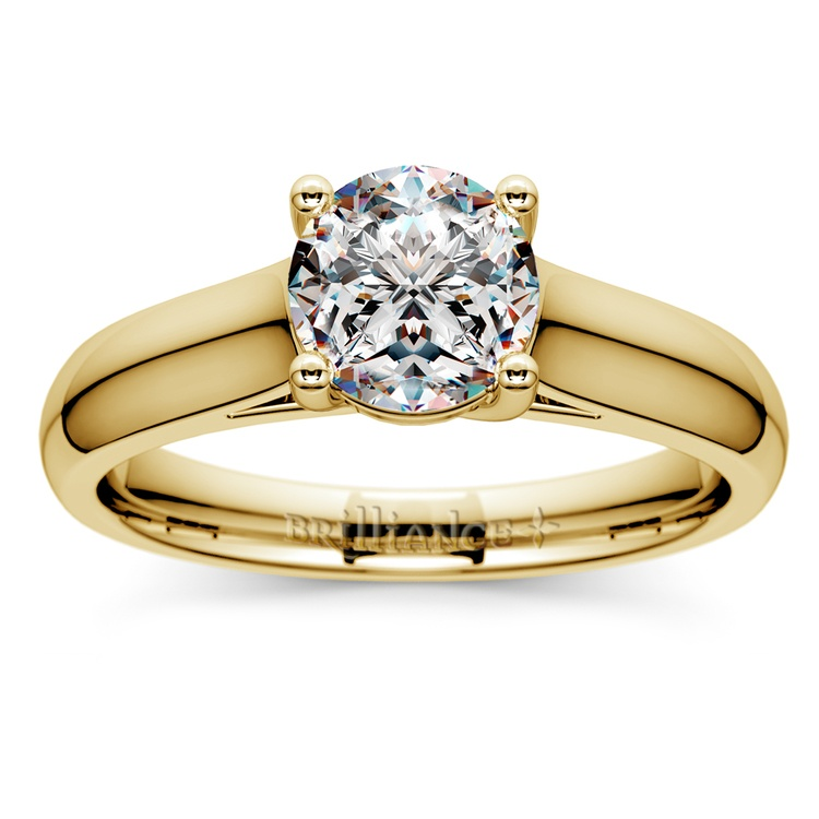 Trellis Solitaire Engagement Ring in Yellow Gold | 01