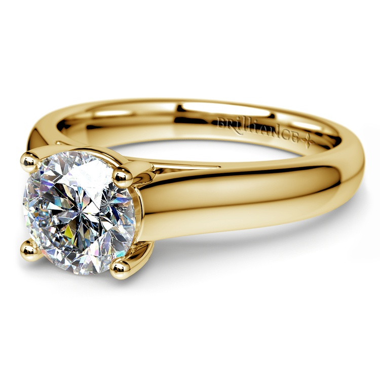 Trellis Solitaire Engagement Ring in Yellow Gold   04