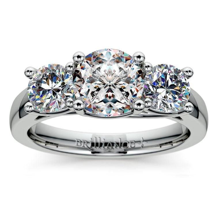Trellis Three Diamond Engagement Ring in Platinum (1 ctw)   01
