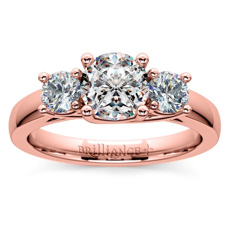 Trellis Three Diamond Engagement Ring in Rose Gold (1/2 ctw) | 01