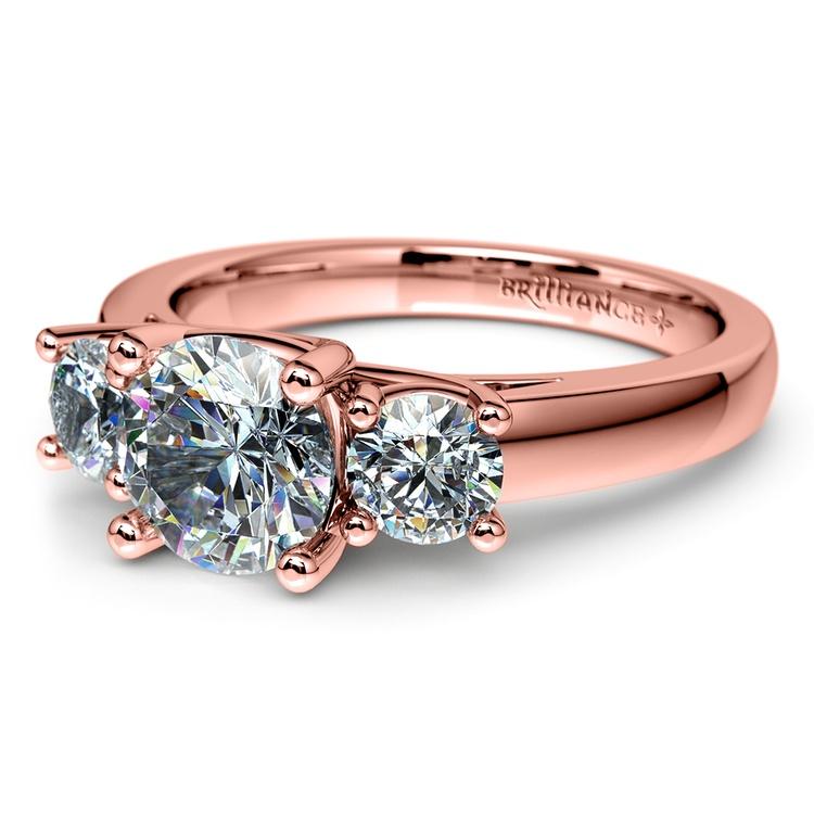 Trellis Three Diamond Engagement Ring in Rose Gold (1/2 ctw) | 04