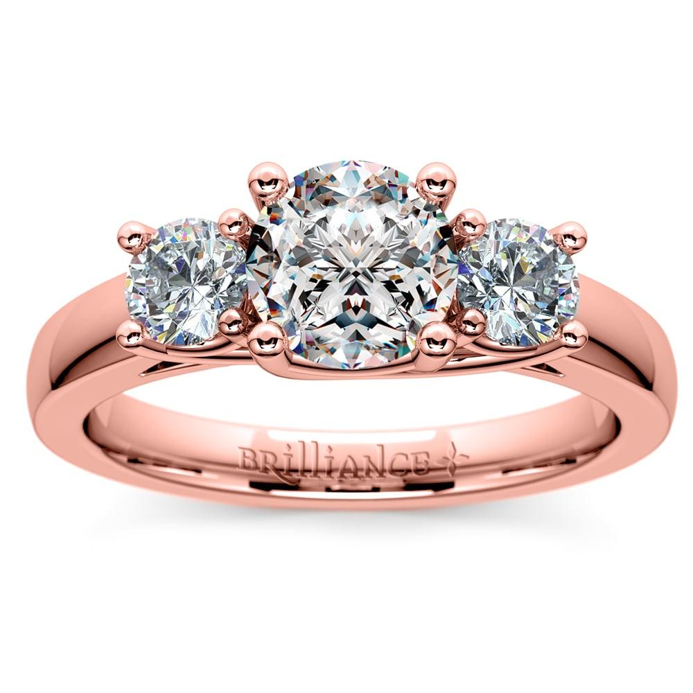 Trellis Three Diamond Engagement Ring In Rose Gold 1 2 Ctw