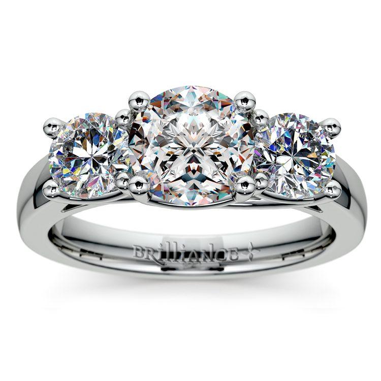 Trellis Three Diamond Engagement Ring in White Gold (1 ctw) | 01