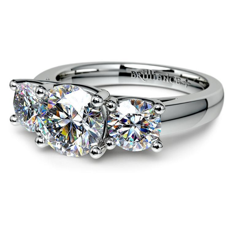 Trellis Three Diamond Engagement Ring in White Gold (1 ctw) | 04