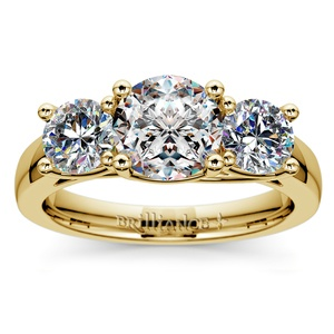 Trellis Three Diamond Engagement Ring in Yellow Gold (1 ctw)