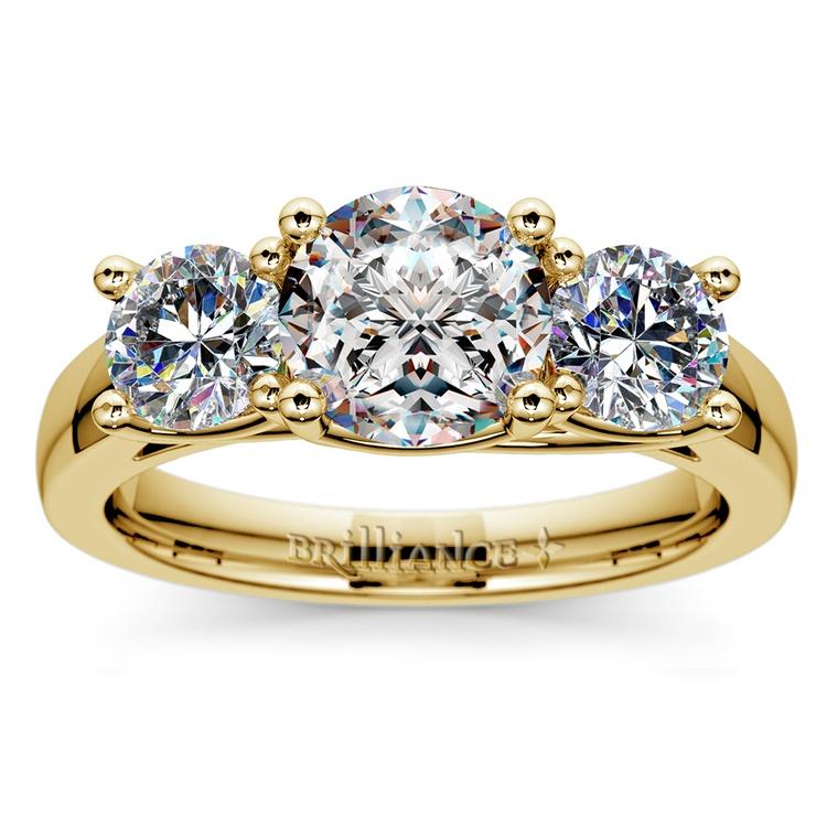 Trellis Three Diamond Engagement Ring in Yellow Gold (1 ctw) | 01