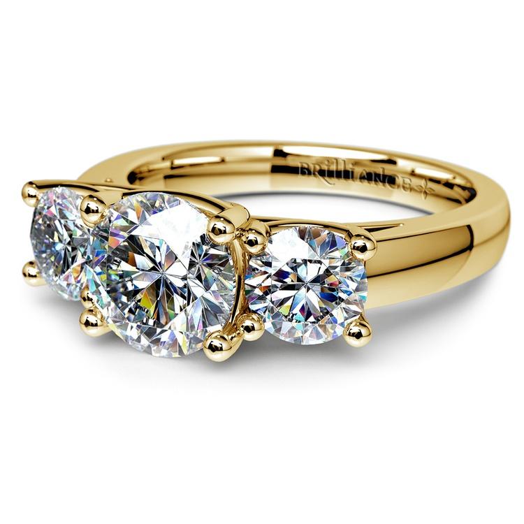 Trellis Three Diamond Engagement Ring in Yellow Gold 1 ctw