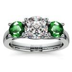 Three-Stone Trellis Emerald Gem Engagement Ring in Platinum | Thumbnail 01