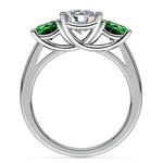 Three-Stone Trellis Emerald Gem Engagement Ring in Platinum | Thumbnail 02