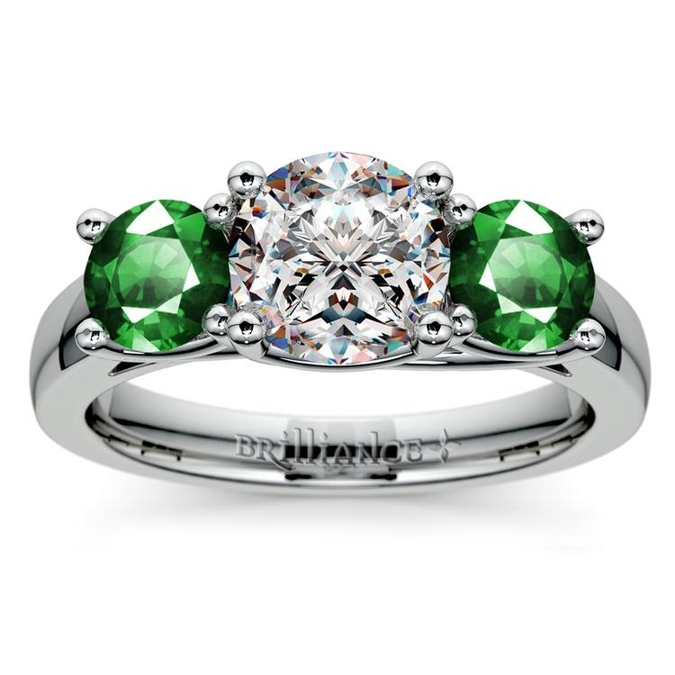 Three-Stone Trellis Emerald Gem Engagement Ring in Platinum | 01