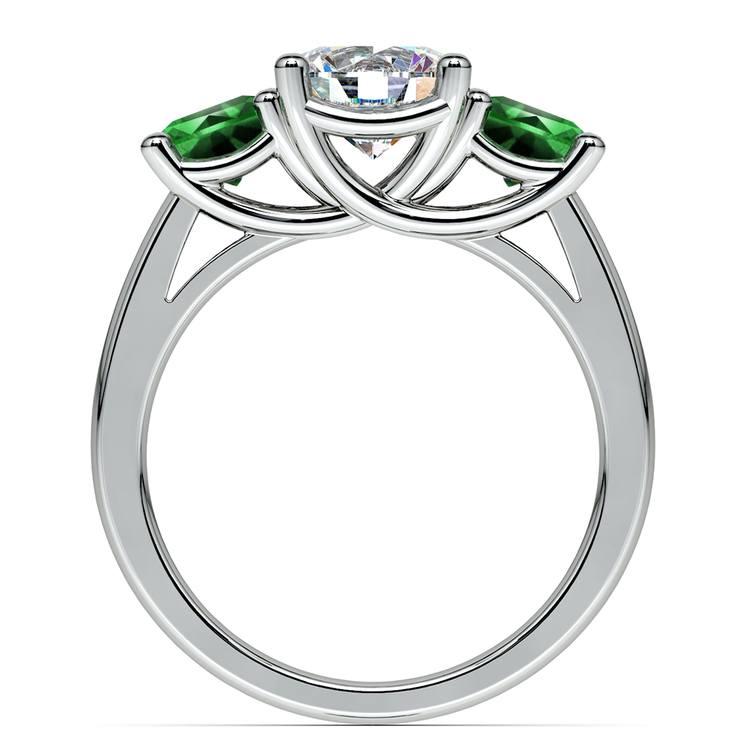Three-Stone Trellis Emerald Gem Engagement Ring in Platinum | 02