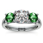 Three-Stone Trellis Emerald Gem Engagement Ring in White Gold | Thumbnail 01