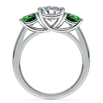 Three-Stone Trellis Emerald Gem Engagement Ring in White Gold | Thumbnail 02
