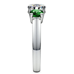 Three-Stone Trellis Emerald Gem Engagement Ring in White Gold | Thumbnail 03