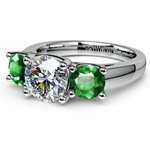 Three-Stone Trellis Emerald Gem Engagement Ring in White Gold | Thumbnail 04