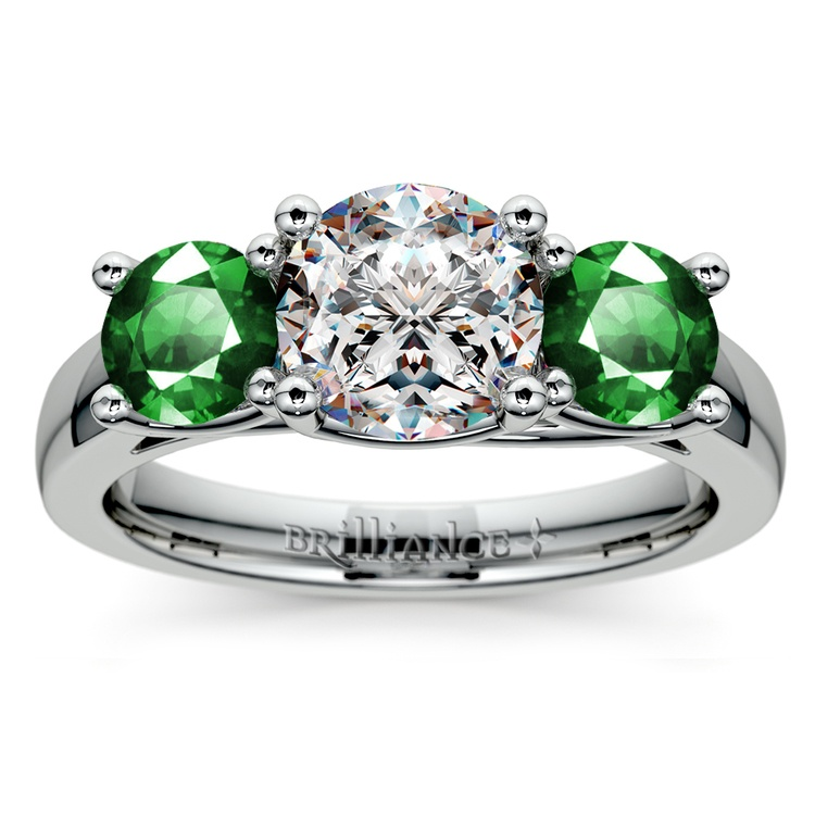 Three-Stone Trellis Emerald Gem Engagement Ring in White Gold | 01