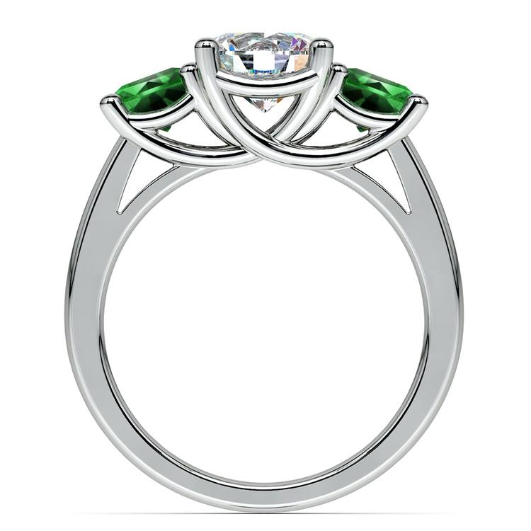 Three-Stone Trellis Emerald Gem Engagement Ring in White Gold | 02