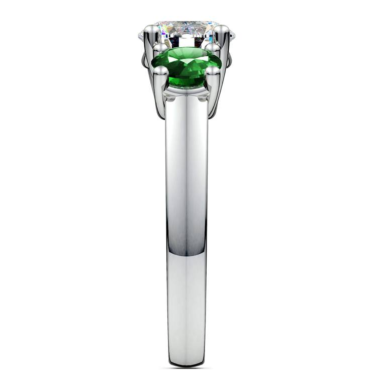 Three-Stone Trellis Emerald Gem Engagement Ring in White Gold | 03