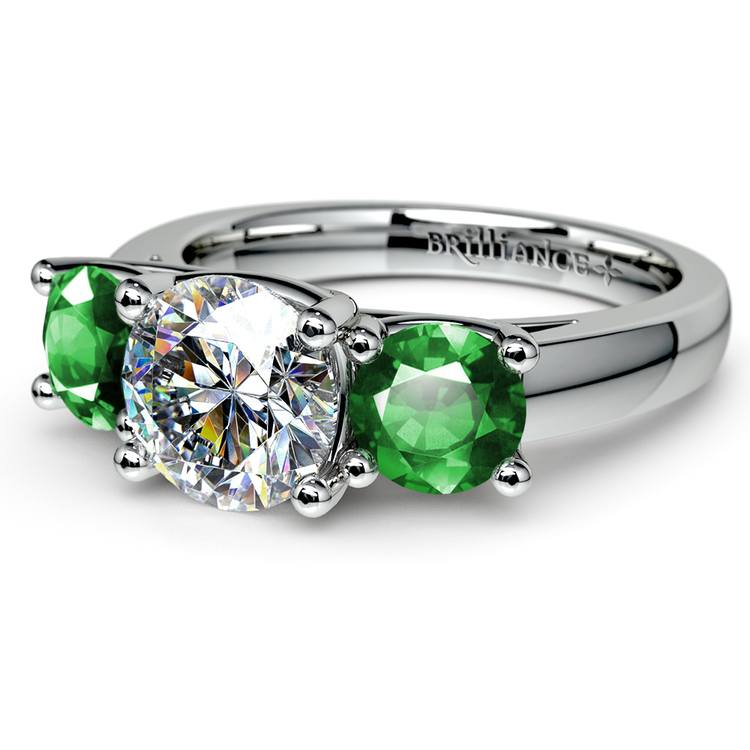 Three-Stone Trellis Emerald Gem Engagement Ring in White Gold | 04