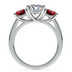 Trellis Three Ruby Gemstone Engagement Ring in Platinum | Thumbnail 02