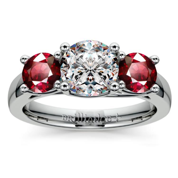 Trellis Three Ruby Gemstone Engagement Ring in Platinum | 01