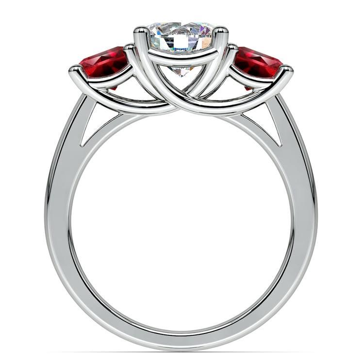 Trellis Three Ruby Gemstone Engagement Ring in Platinum | 02