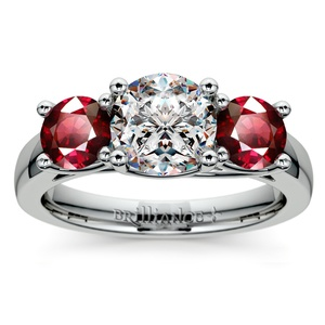 Trellis Three Ruby Gemstone Engagement Ring in White Gold