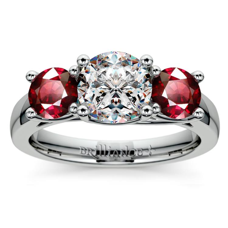 Trellis Three Ruby Gemstone Engagement Ring in White Gold | 01