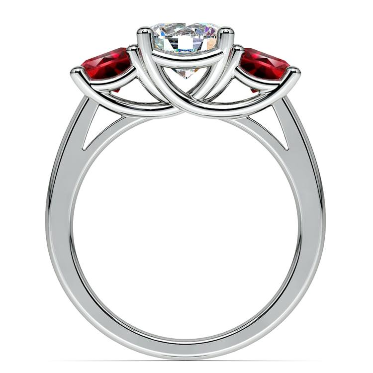 Trellis Three Ruby Gemstone Engagement Ring in White Gold | 02