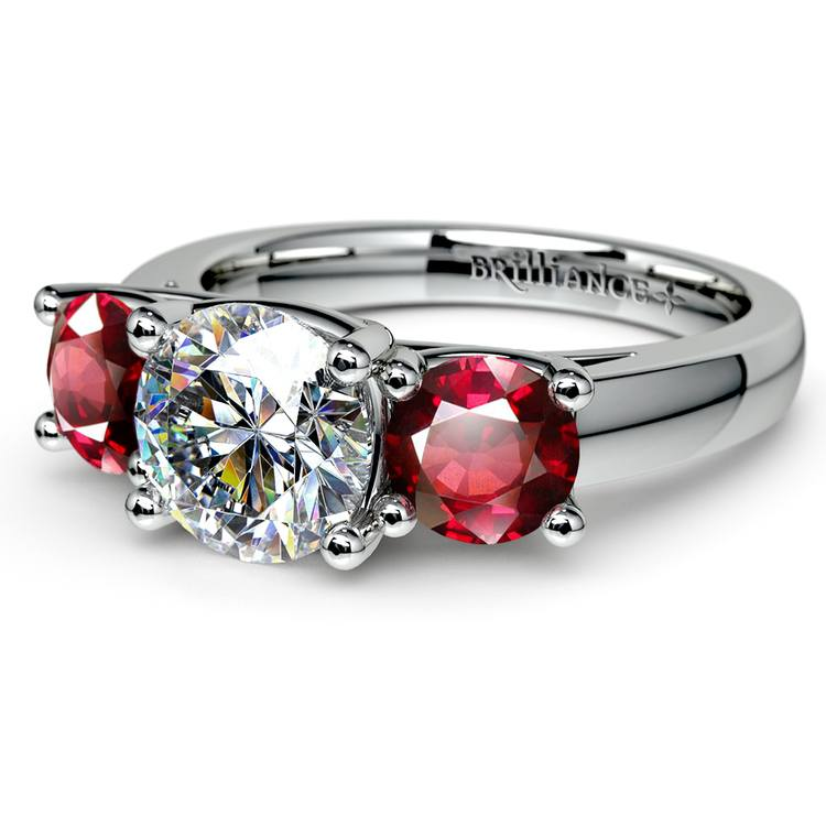 Trellis Three Ruby Gemstone Engagement Ring in White Gold | 04